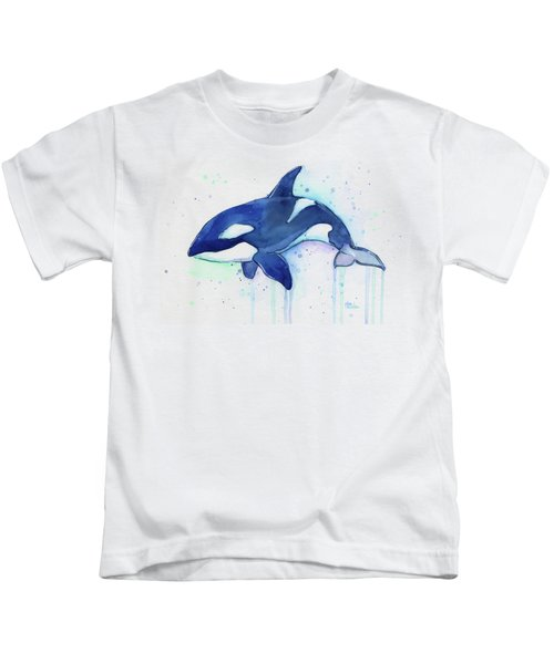 Kiler Whale Watercolor Orca  Kids T-Shirt