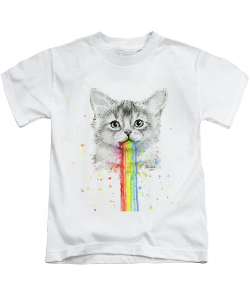Kitten Puking Rainbows Kids T-Shirt