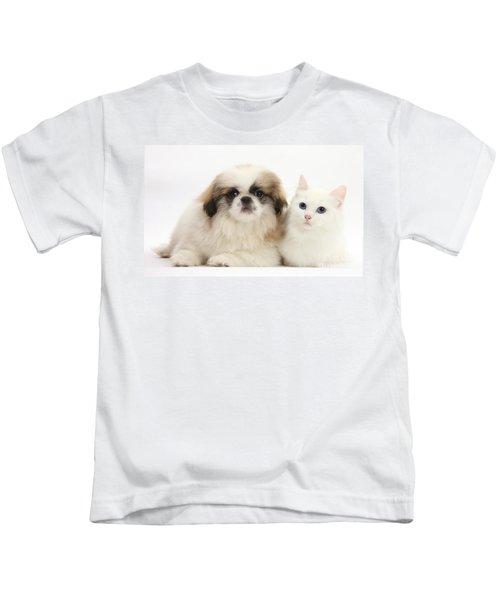 Kitten With Pekinese Puppy Kids T-Shirt