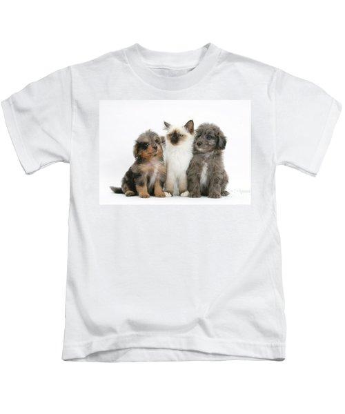 Kitten With Puppies Kids T-Shirt