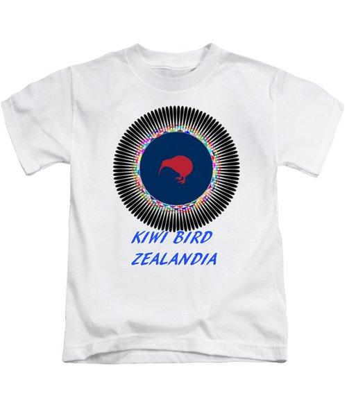 Kiwi Bird Zealandia Mandala Kids T-Shirt by Peter Gumaer Ogden
