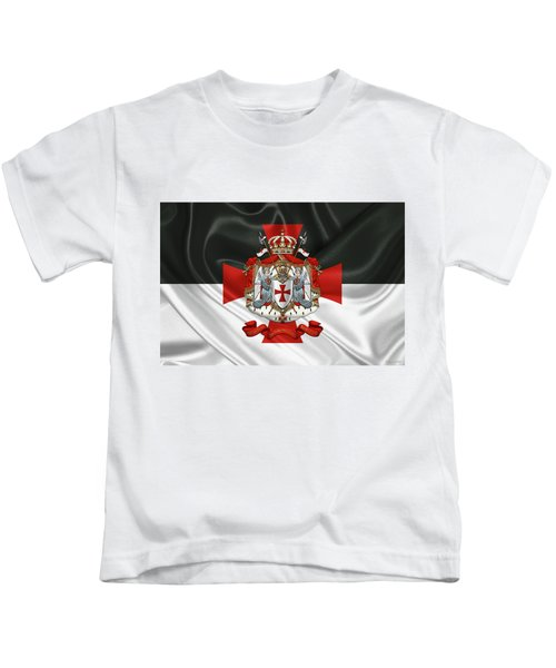 Knights Templar - Coat Of Arms Over Flag Kids T-Shirt by Serge Averbukh