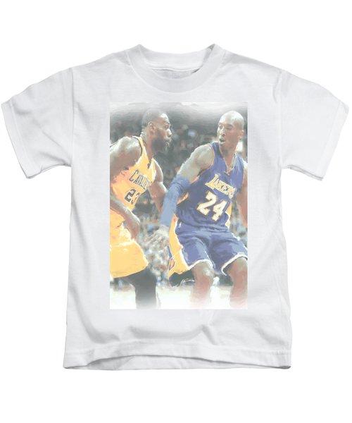 Kobe Bryant Lebron James 2 Kids T-Shirt by Joe Hamilton
