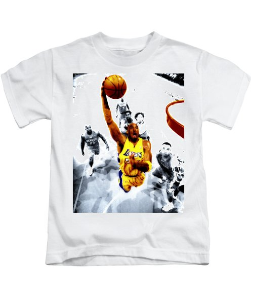 Kobe Bryant Took Flight Kids T-Shirt by Brian Reaves