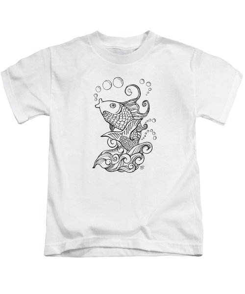 Koi Fish And Water Waves Kids T-Shirt