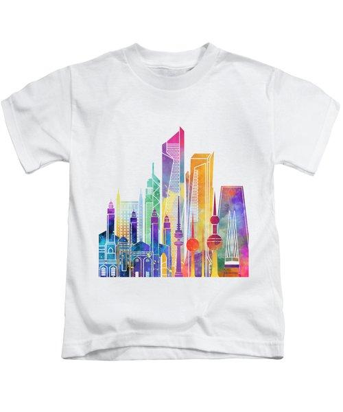 Kuwait City Landmarks Watercolor Poster Kids T-Shirt