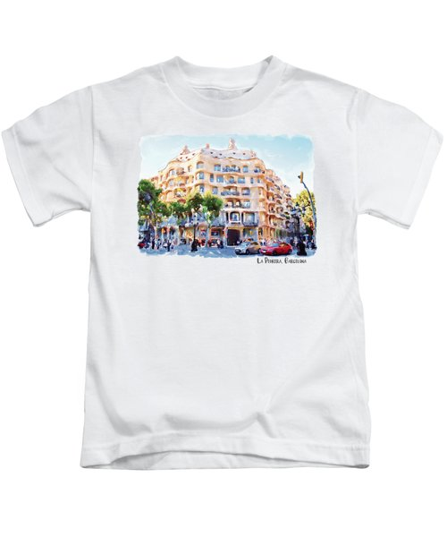 La Pedrera Barcelona Kids T-Shirt by Marian Voicu
