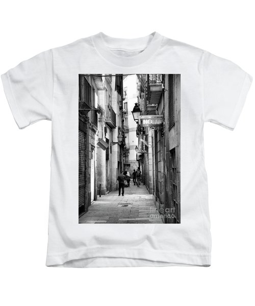 La Rambia Bw Street Gothic Quarter Narrow People  Kids T-Shirt