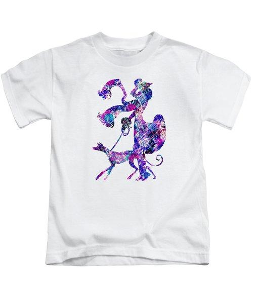 Lady Dog Walker Splashes Transparent Background Kids T-Shirt