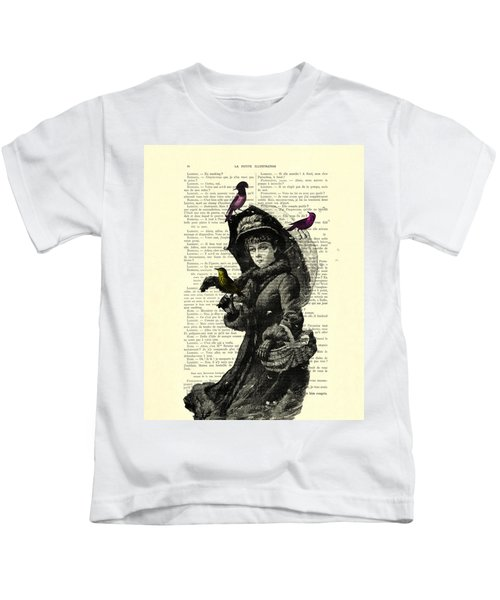 Lady With Umbrella In Winter Landscape Print On Old Book Page Kids T-Shirt