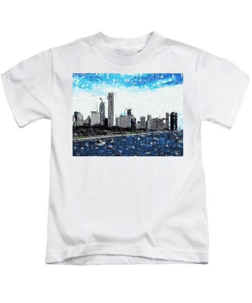 Lake Michigan And The Chicago Skyline Kids T-Shirt