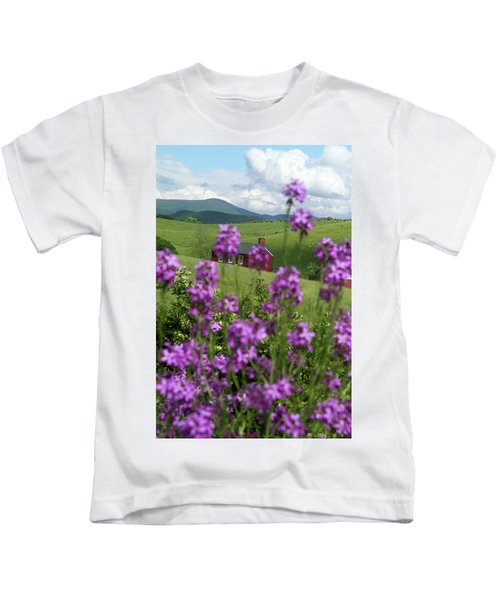 Landscape With Purple Flowers In Virginia Kids T-Shirt