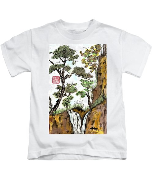 Landscape With Waterfall And Pine Kids T-Shirt