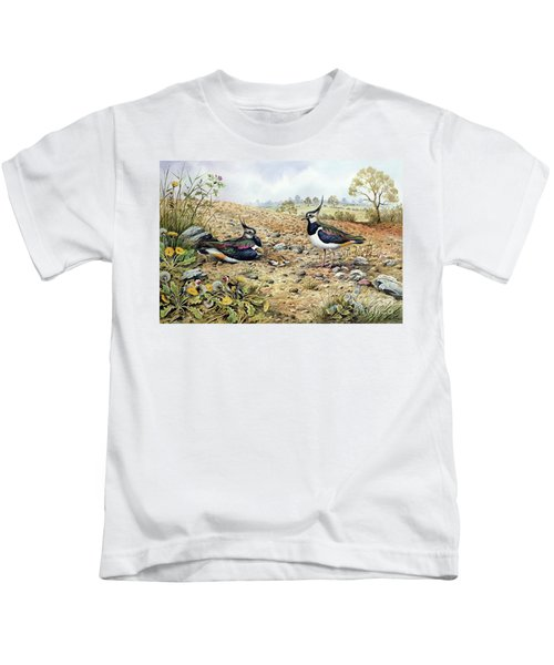 Lapwing Family With Goldfinches Kids T-Shirt by Carl Donner