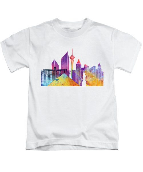Las Vegas Landmarks Watercolor Poster Kids T-Shirt