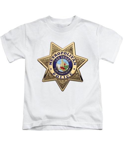 Las Vegas Metropolitan Police Department -  L V M P D  Badge Over White Leather Kids T-Shirt
