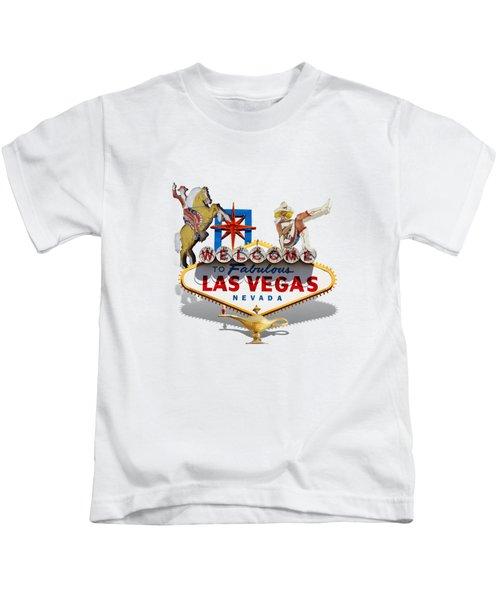 Las Vegas Symbolic Sign On White Kids T-Shirt