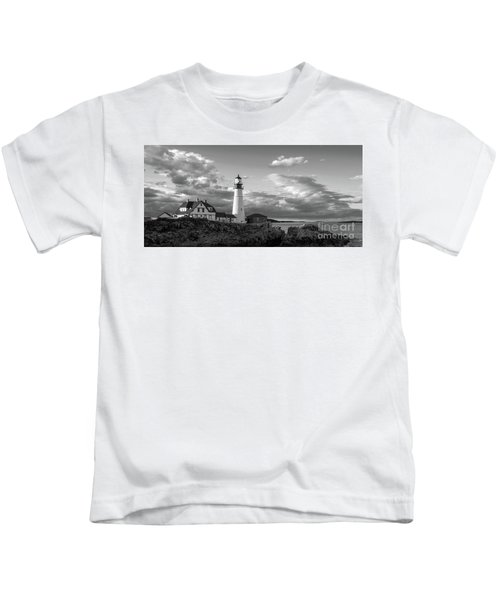 Late Afternoon Clouds, Portland Head Light  -98461 Kids T-Shirt