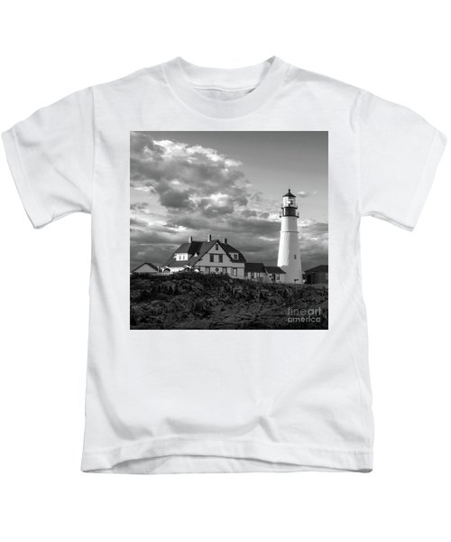 Late Afternoon Clouds, Portland Head Light  -98461-sq Kids T-Shirt