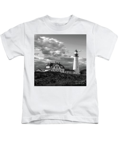 Late Afternoon Clouds, Portland Head Light  -98461-sq Kids T-Shirt
