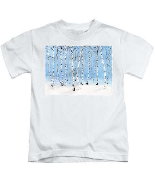 Late Afternoon Snowstorm In The Forest Kids T-Shirt