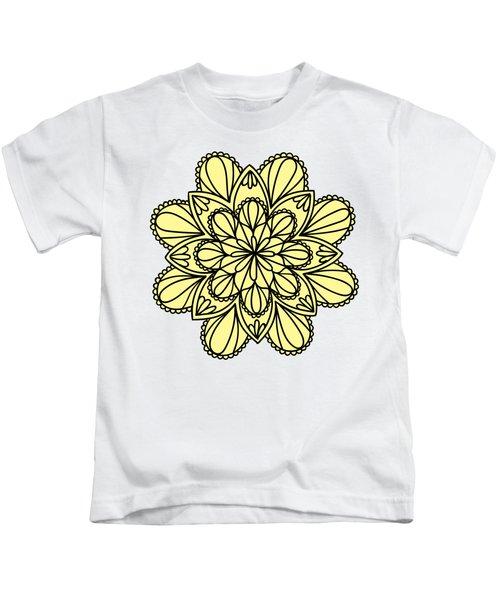 Lemon Lily Mandala Kids T-Shirt by Georgiana Romanovna