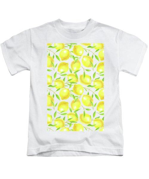 Lemons And Leaves  Pattern Design Kids T-Shirt