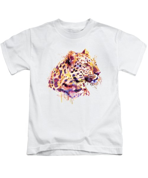 Leopard Head Kids T-Shirt by Marian Voicu