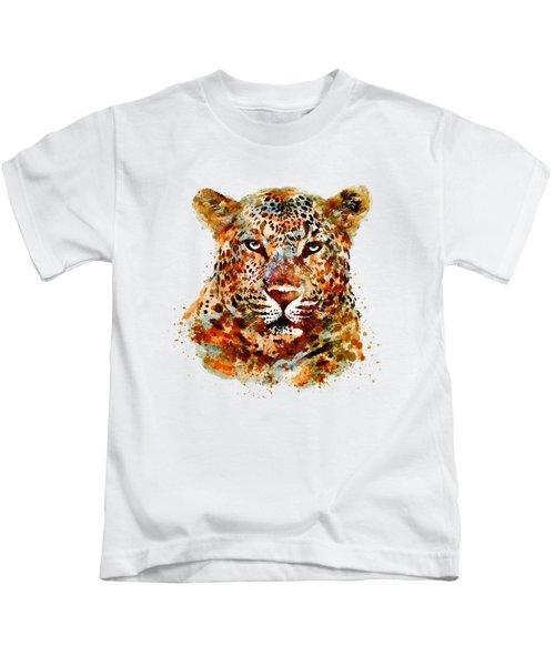 Leopard Head Watercolor Kids T-Shirt