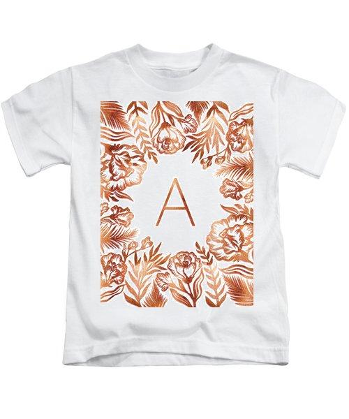 Letter A - Rose Gold Glitter Flowers Kids T-Shirt