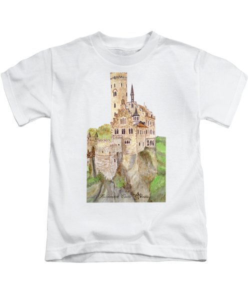Lichtenstein Castle Kids T-Shirt by Angeles M Pomata