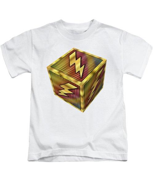 Lightning Bolt Cube - Transparent Kids T-Shirt