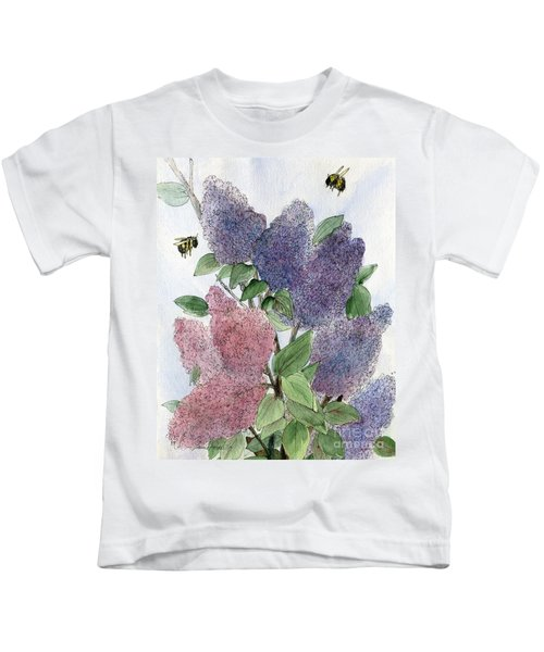 Lilacs And Bees Kids T-Shirt