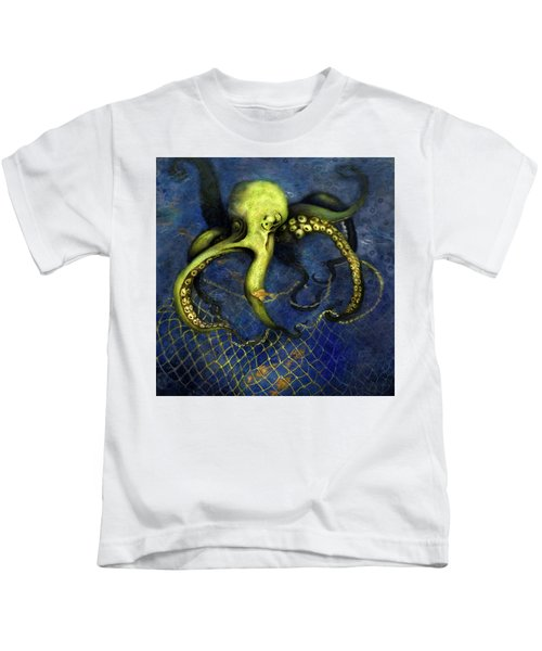 Lime Green Octopus With Net Kids T-Shirt