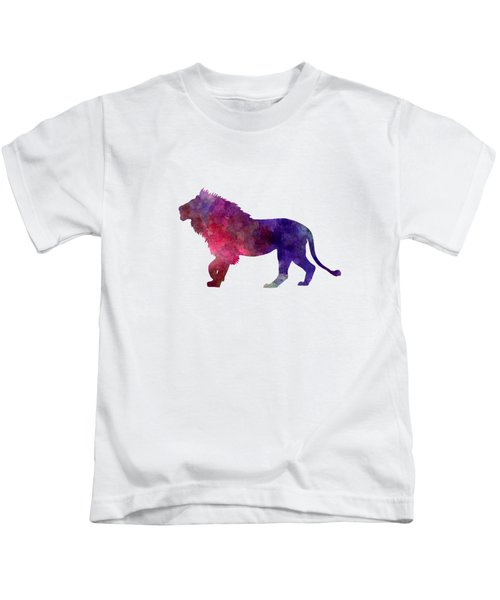 Lion 01 In Watercolor Kids T-Shirt by Pablo Romero