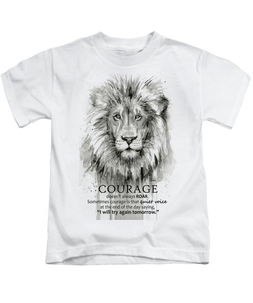 Lion Courage Motivational Quote Watercolor Animal Kids T-Shirt