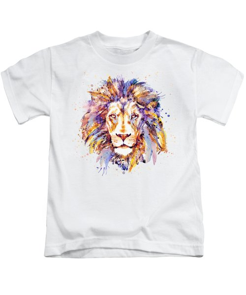 Lion Head Kids T-Shirt by Marian Voicu