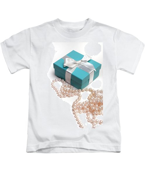 Little Blue Gift Box And Pearls Kids T-Shirt