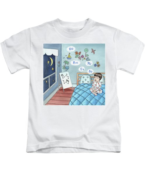 Little Boy Singing In The Bed Kids T-Shirt