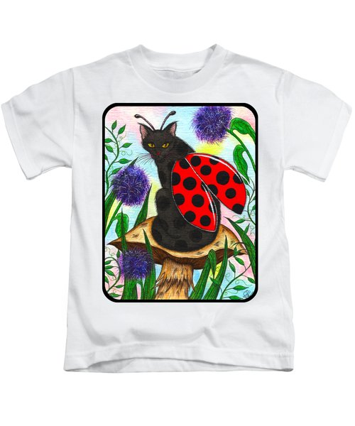Logan Ladybug Fairy Cat Kids T-Shirt by Carrie Hawks