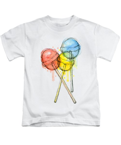 Lollipop Candy Watercolor Kids T-Shirt