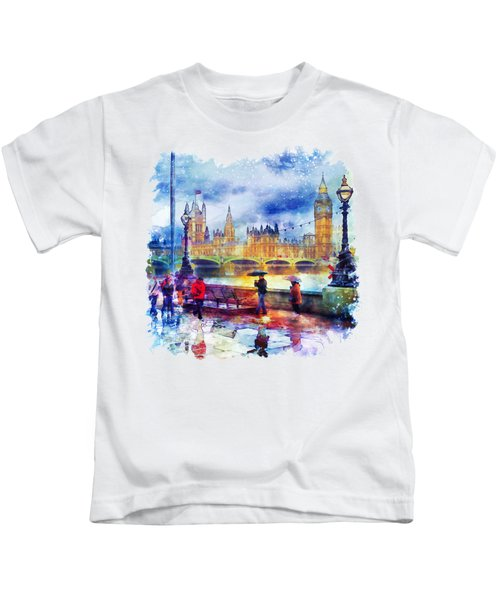 London Rain Watercolor Kids T-Shirt by Marian Voicu