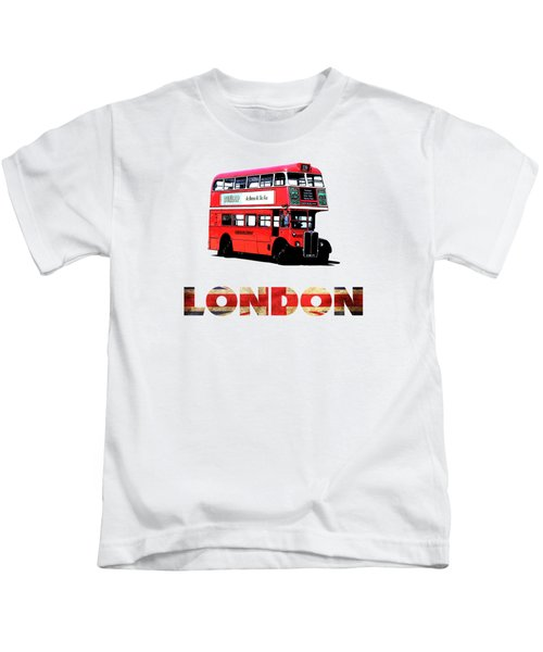 London Red Double Decker Bus Tee Kids T-Shirt by Edward Fielding
