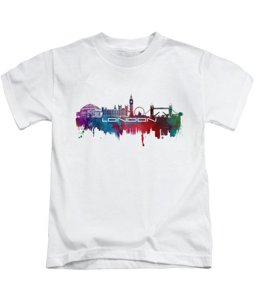 London Skyline City Blue Kids T-Shirt by Justyna JBJart