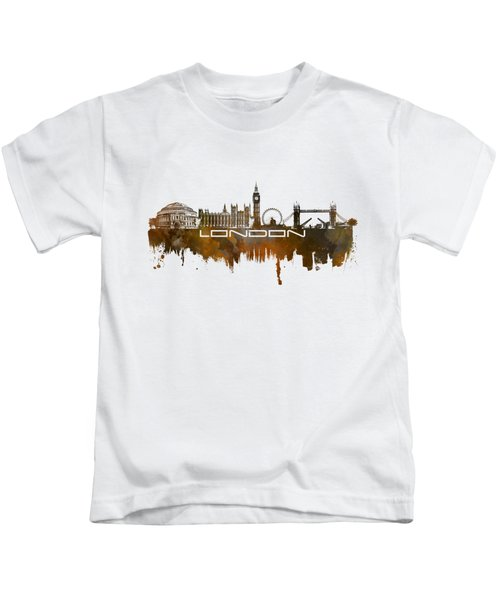 London Skyline City Brown Kids T-Shirt by Justyna JBJart