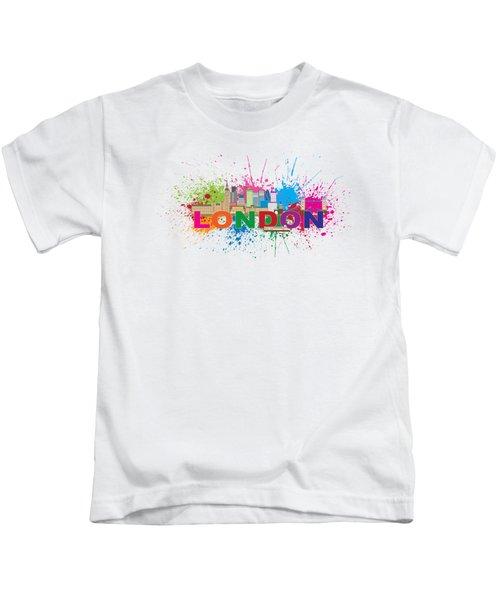 London Skyline Paint Splatter Text Illustration Kids T-Shirt