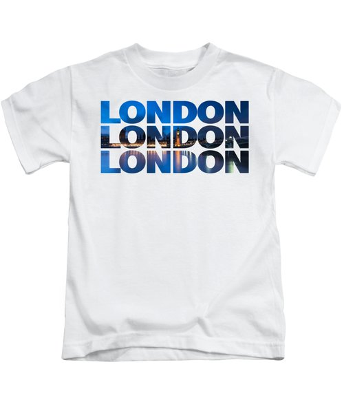 London Text Kids T-Shirt by Matt Malloy