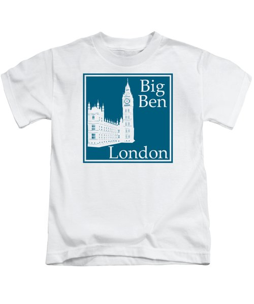 London's Big Ben In Blue Lagoon Kids T-Shirt by Custom Home Fashions