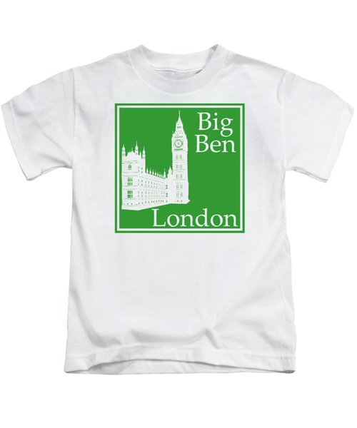 London's Big Ben In Dublin Green Kids T-Shirt by Custom Home Fashions