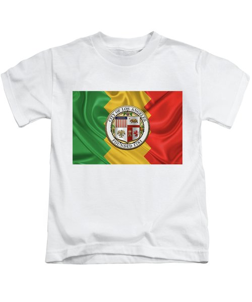 Los Angeles City Seal Over Flag Of L.a. Kids T-Shirt by Serge Averbukh